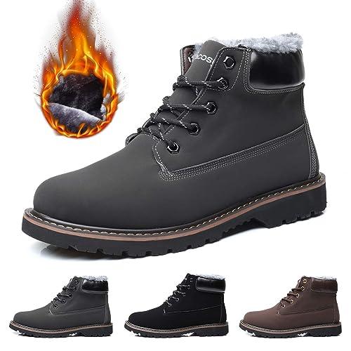 Hombres Zapatos de Nieve Invierno Botines, gracosy Calentar Botas De Nieve Anti-Deslizante Lazada Zapatos Botas de Trabajo Más Terciopelo Martin Boots ...