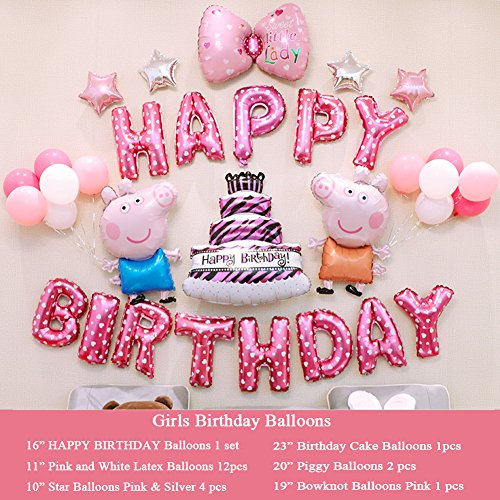 Amazon Girls Birthday Party Decorations Pink Happy Cakes Balloons Cute Pig Theme Balloon Decor Health Personal Care