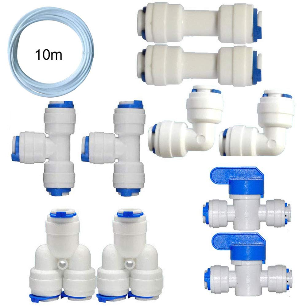 Quick Connect and Pipe Fitting Combo for RODI System 1//4 10M Pipe+Ball Valve+T+Y+L+I Assortment Package