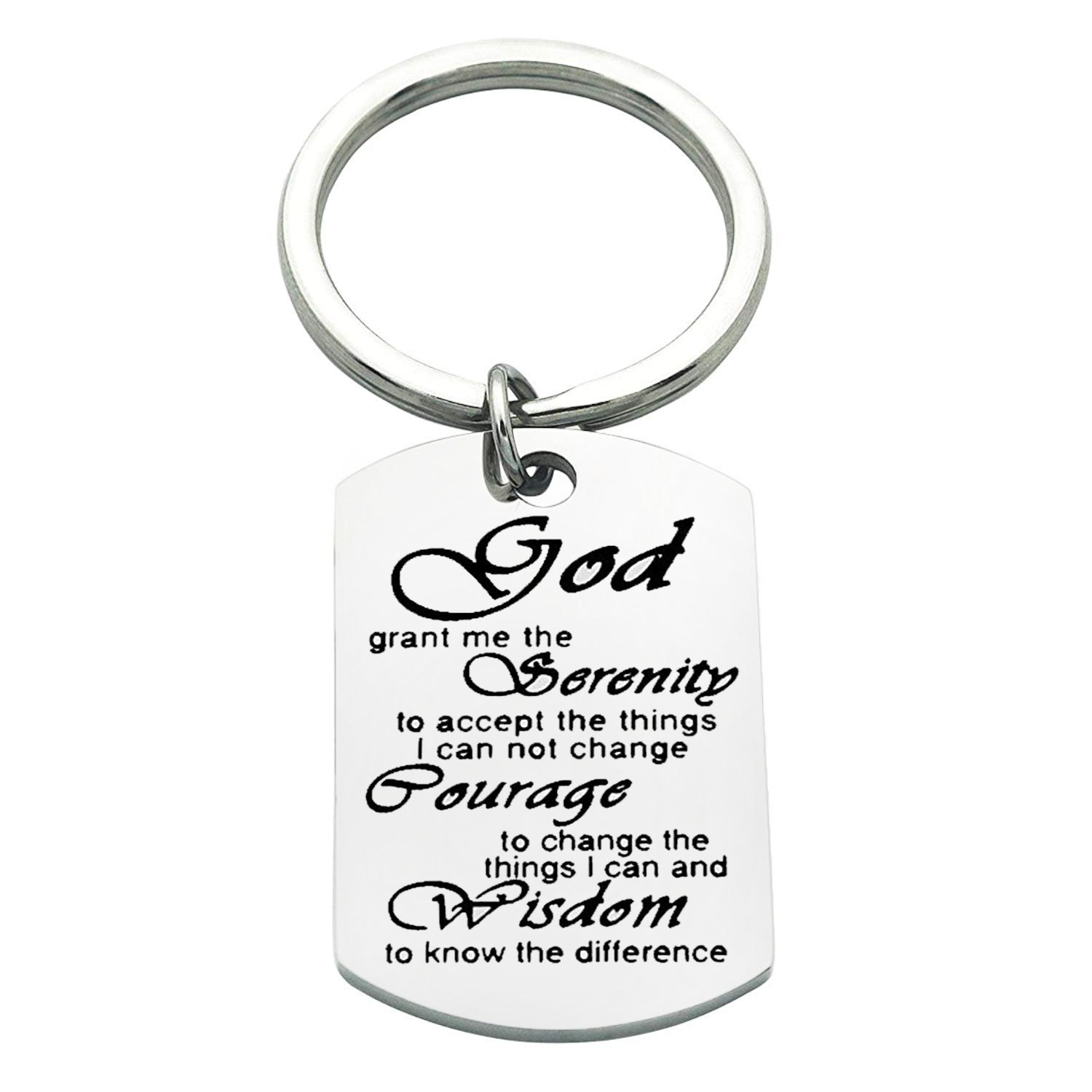 Serenity Prayer Keychain Recovery Bible Verse Keyring Gift BNQL
