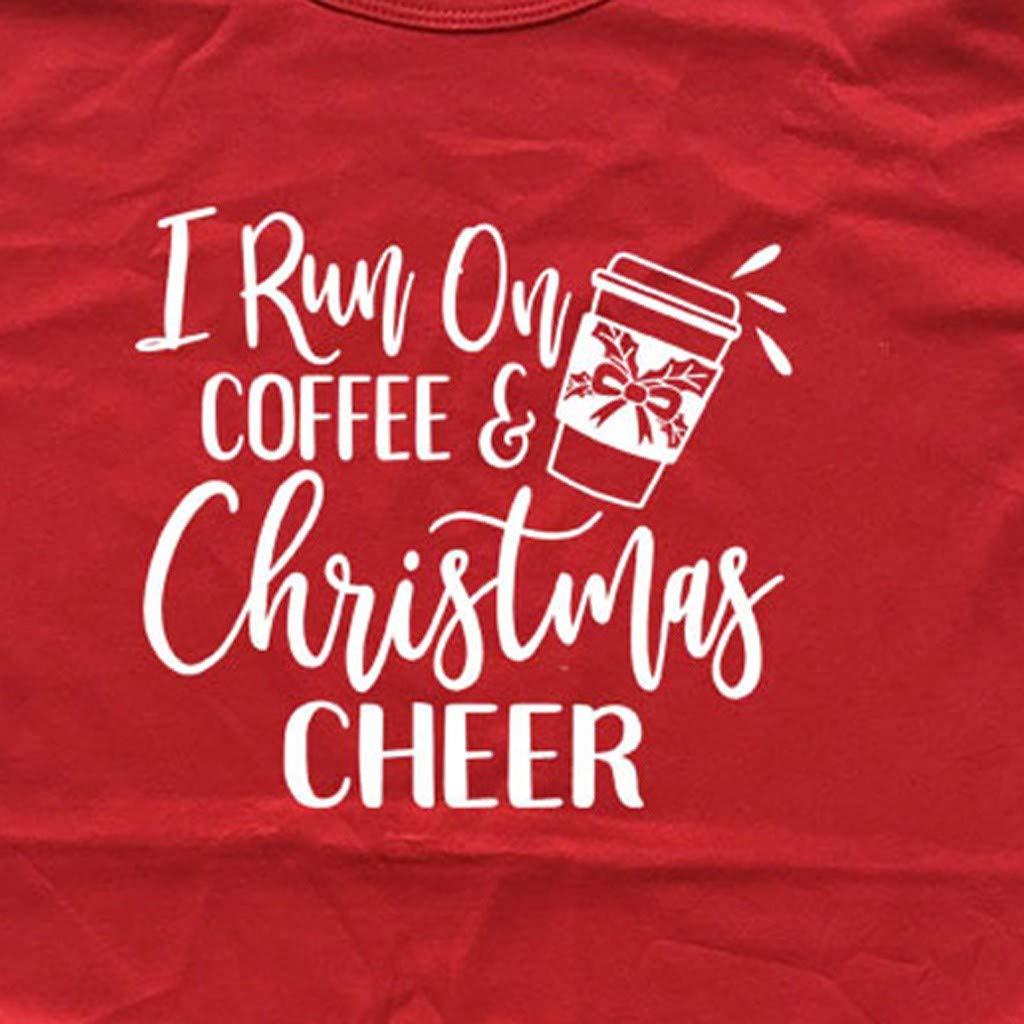 Winsummer I Run On Coffee and Christmas Cheer Shirt Women Short Sleeve Christmas Funny Letter Print Top