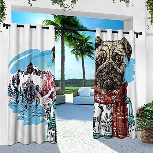 leinuoyi Pug, Outdoor Curtain Extra Wide, Sketch Style Dog with Winter Clothes Scarf Sweater Mountains Background Open Sky Image, Outdoor Curtain Panels for Patio Waterproof W120 x L96 Inch Ruby Blue ()