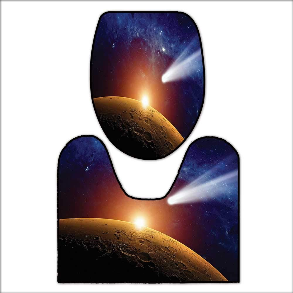 qianhehome 2 Piece Bathroom Contour Rugs Comet Tail Approaching Planet Mars Fantastic Star Cosmos Dark Solar System Scenery for Blue and Orange. Anti-Slip Water AbsorptionL20 x W20-W15 x H18