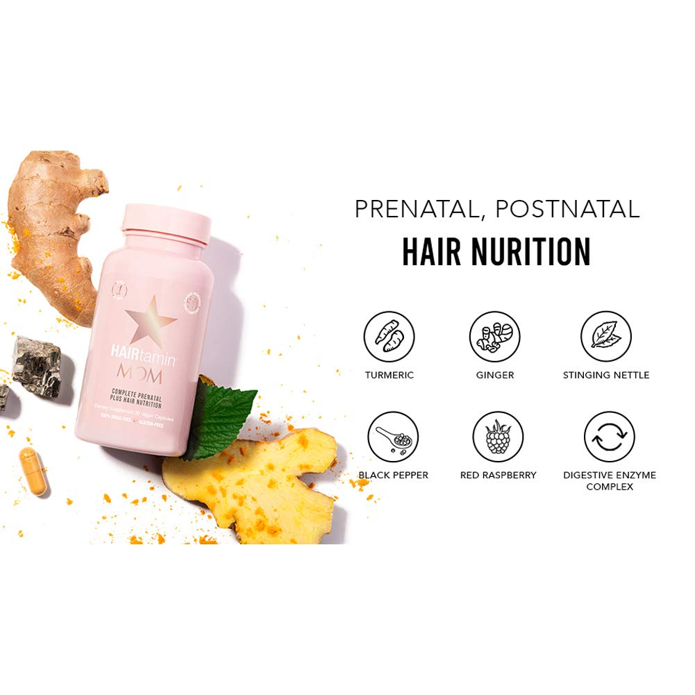 HAIRtamin MOM Vegan Prenatal Vitamins for Women, Natural Multivitamin for Expecting Mothers with Biotin, Probiotics, Vitamin B-6, Iron, Best Post-Natal Vitamin to Promote Healthy Hair & Nails - $29.99 by HAIRtamin (Image #4)
