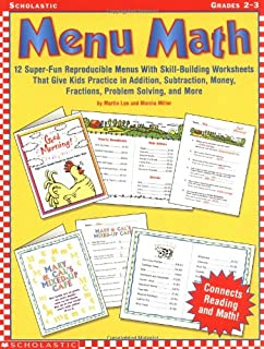 Worksheets Menu Math Worksheets amazon com menu math grades 4 5 15 super fun reproducible 2 3