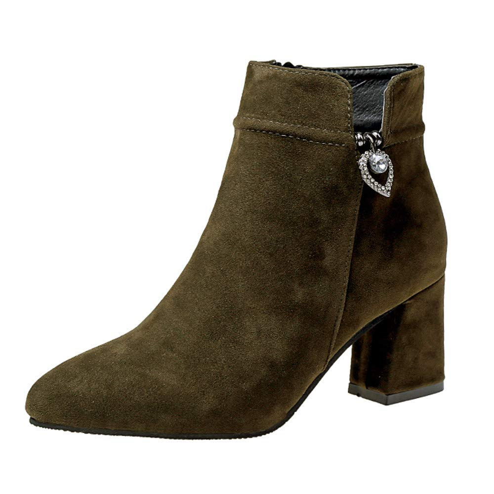 Clearance Sale! Caopixx Boots for Women Casual Shoes High Heeled Zipper Boots Ankle Martin Booties Soft