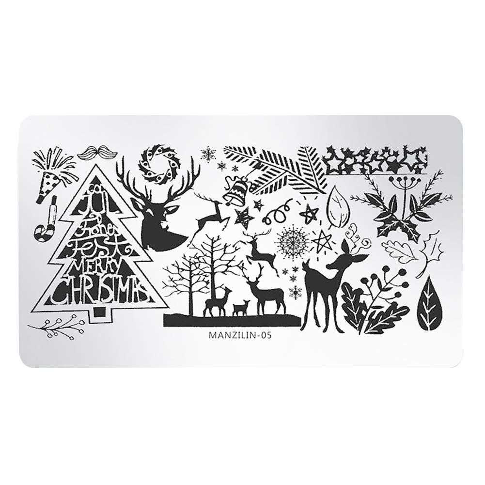 Hosaire Noël Plaques de Stamping Magnifique Métal Nail Pochoirs Motif de Flocon de Neige Manicure Ongles Nail Outils Artistiques Bricolage Noël Décoration