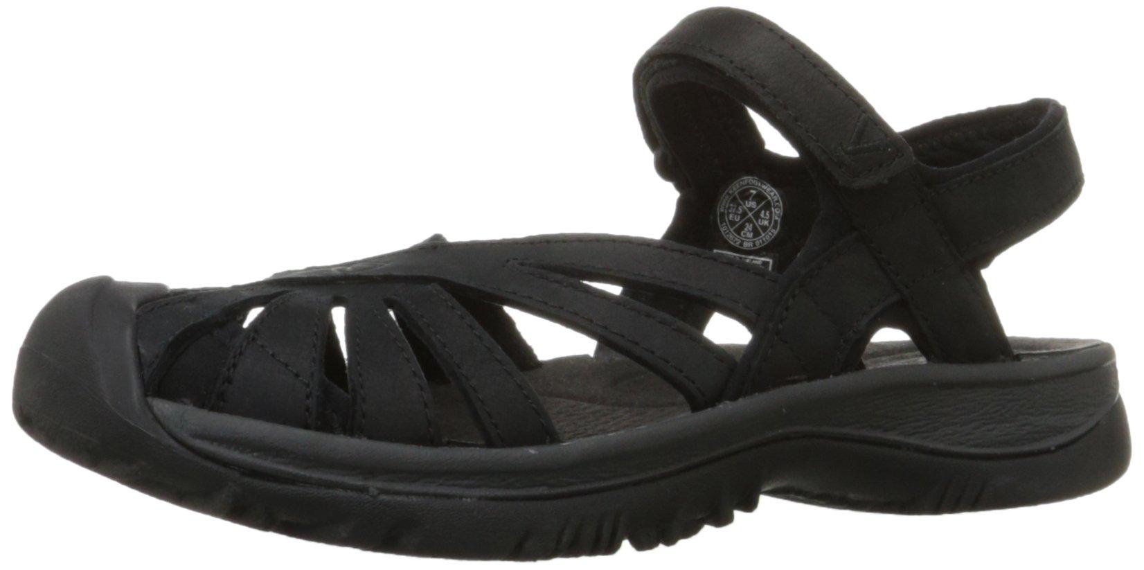 KEEN Women's Rose Leather Sandal, Black/Raven, 6 M US