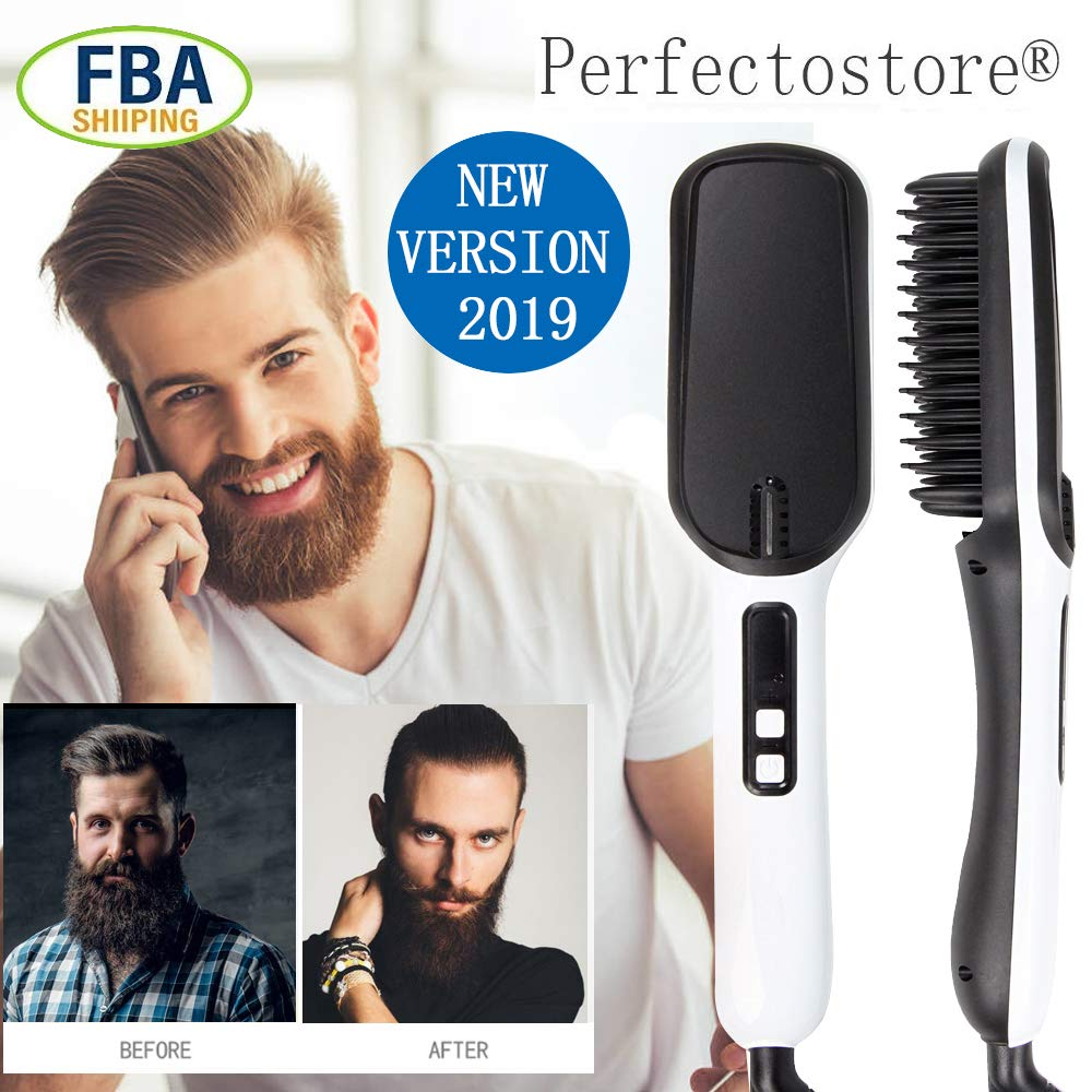 PerfectoStore Beard Straightener, Hair Straightener for Men and Women 2019 Electric Quick Beard Straightening Comb, Styling Comb Hair Curlers, Magic Massage Comb Multi-functional Electric Hair Tool