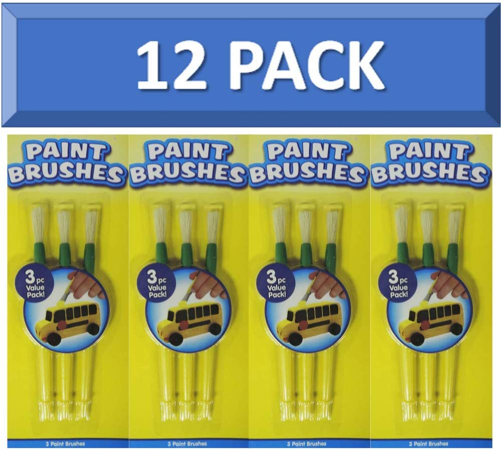 Horizon Group Kids Paint Brushes Bulk - 12 Pack of Kids Paint Brushes Set   Great for Craft Projects Painting Coloring   Kids Paint Brushes Kids Paint Brushes Large Bristles