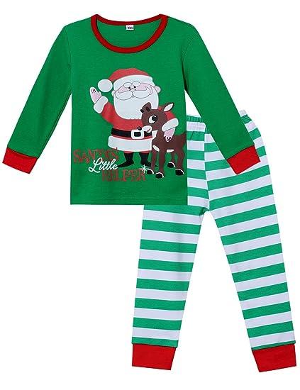 f80a25694d Toddler Kids Xmas 2 Piece Pajama Baby Boys Girls Unisex Santa   Elk 100%  Cotton