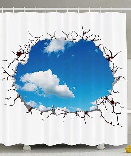 KANATSIU Sky Clouds Bright Artsy Shower Curtain 12 Plactic Hooks100 Made Polyester