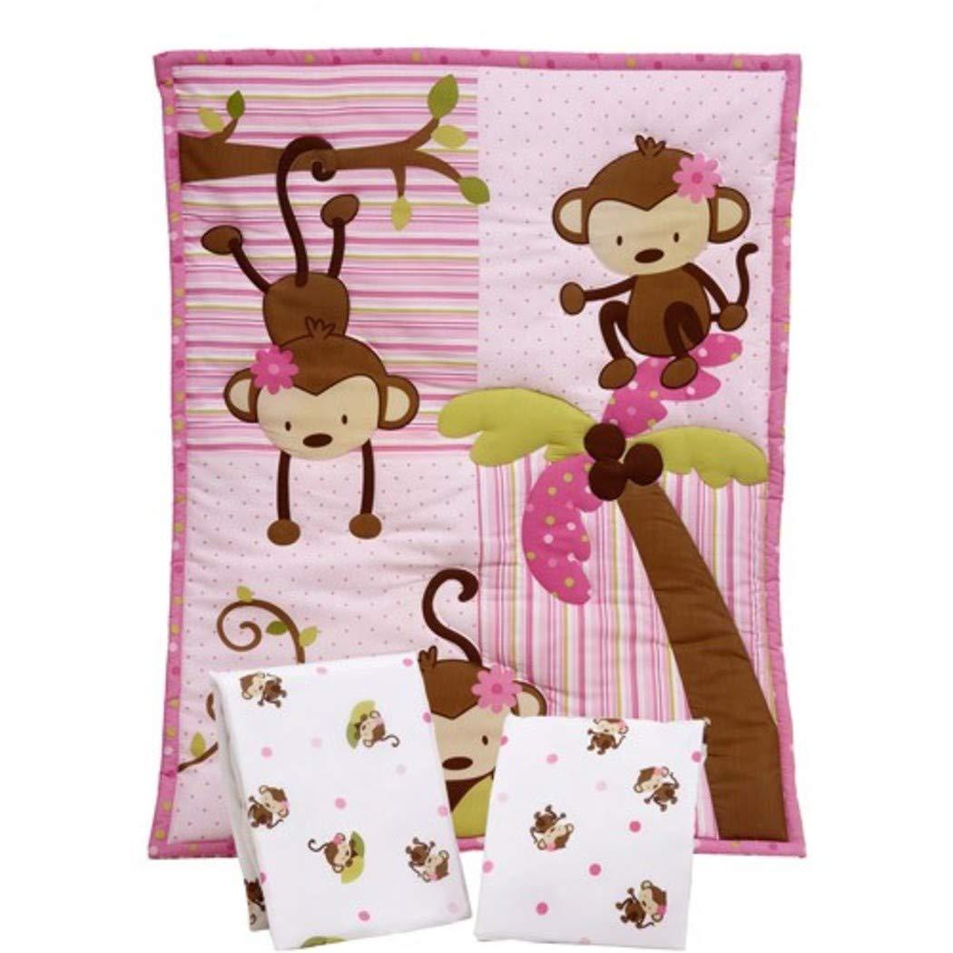 LN 3ピースベビー女の子ピンクブラウンモンキーベビーベッド寝具セット、新生児グリーンサファリ子供部屋ベッドセット、ジャングル動物BowsパッチワークPolkadotsキュート愛らしい幼児子掛け布団ブランケット、コットンポリエステル   B07DD3LMCN