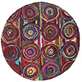 Safavieh Nantucket Collection NAN143A Handmade Abstract Geometric Pink and Multi Cotton Round Area Rug (6′ Diameter)