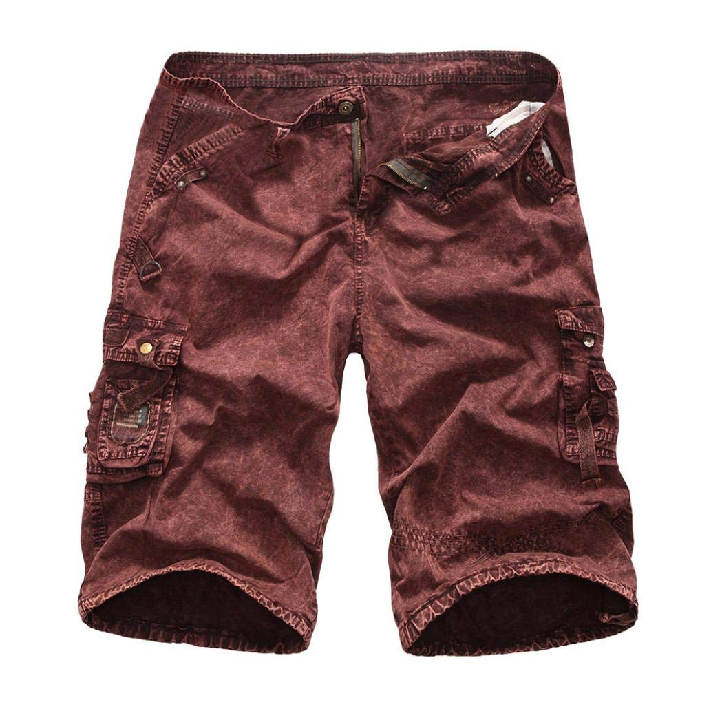 Dacawin Multi-Pockets Casual Camouflage Cargo Shorts Pants Men Relaxed Fit Outdoors Work Trousers
