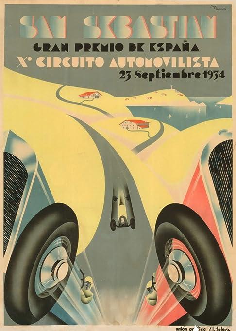 Automóvil del Vintage Gran Premio de San Sebastian, Barcelona, España, 1934. 250 gsm brillante Art Tarjeta A3 reproducción de póster: Amazon.es: Hogar
