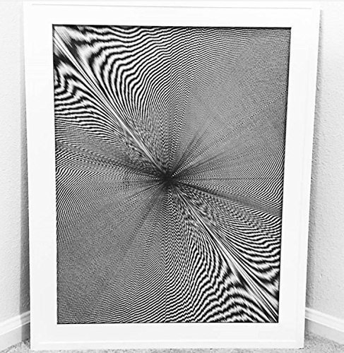 Moire Pattern, Hand Drawn, Framed, 82 Hours 58 Minutes by Jenna Weaver Ink