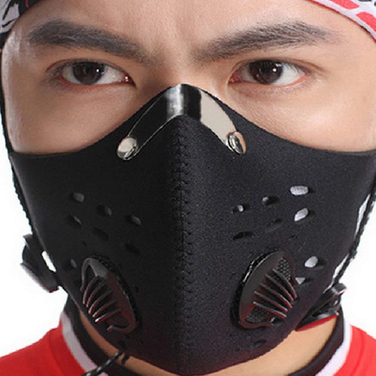 Noir MachinYesell Masque de Pollution Filtre /à Charbon Actif Anti-bu/ée Anti-bu/ée Lavable pour Masque Anti-poussi/ère Anti-PM 2.5 pour Filtre /à Charbon Actif avec 2 filtres