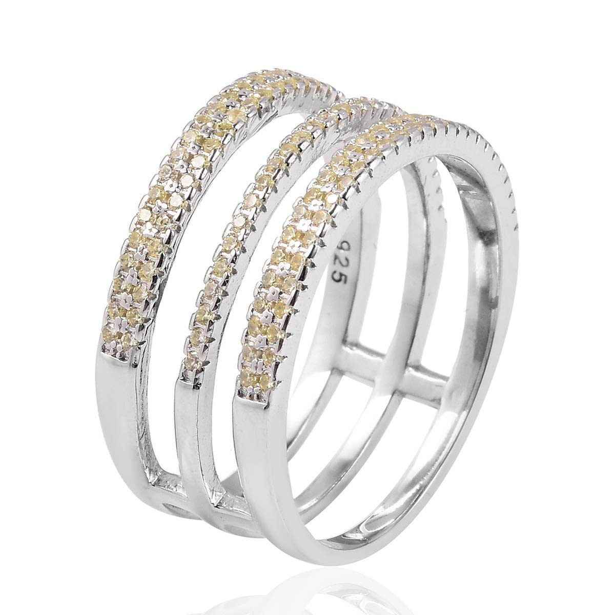 Stackable Ring 925 Sterling Silver Round Yellow Cubic Zirconia CZ Jewelry for Women Ct 1.1