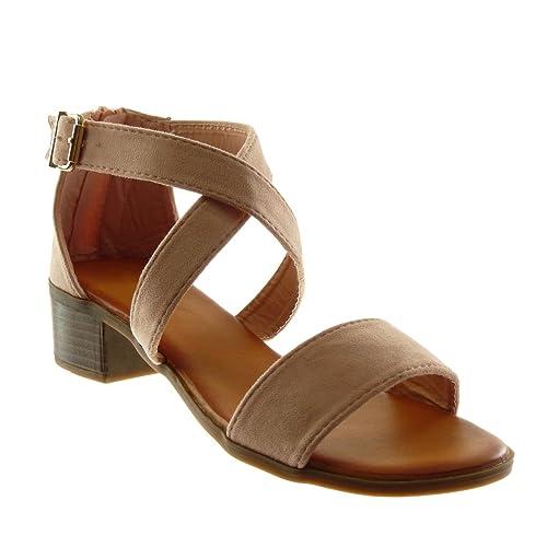 0e7c8ea851 Angkorly - Chaussure Mode Sandale lanière Cheville Femme Boucle Lanières  croisées Talon Haut Bloc 4 CM