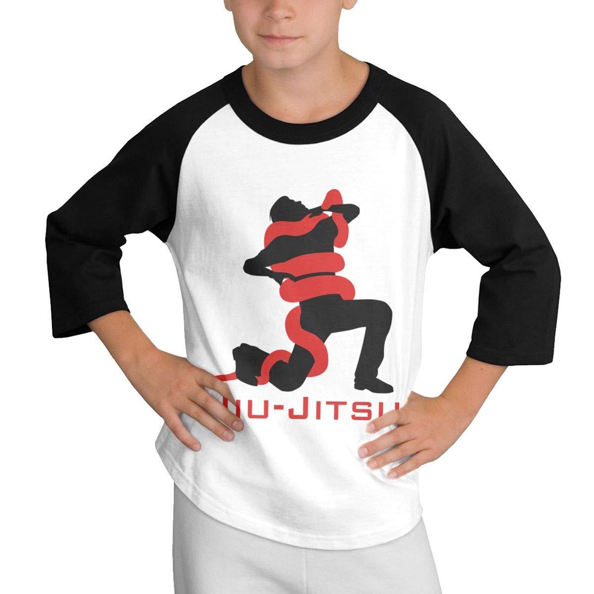 Qiop Nee Jiu-Jitsu Snake Raglan 3//4 Short-Sleeve Shirts Youth Girls Boys