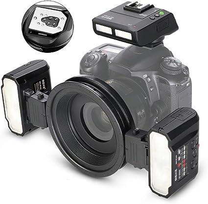 QYRL Macro Twin Flash Flash para Canon DSLR Cámara 70D 60D 760D ...