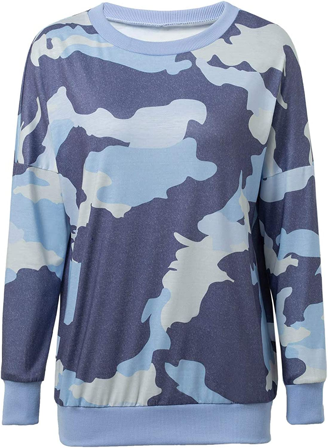 Women Camouflage Print Long Sleeve Pullover Sweatshirt Top Casual Pants Trousers