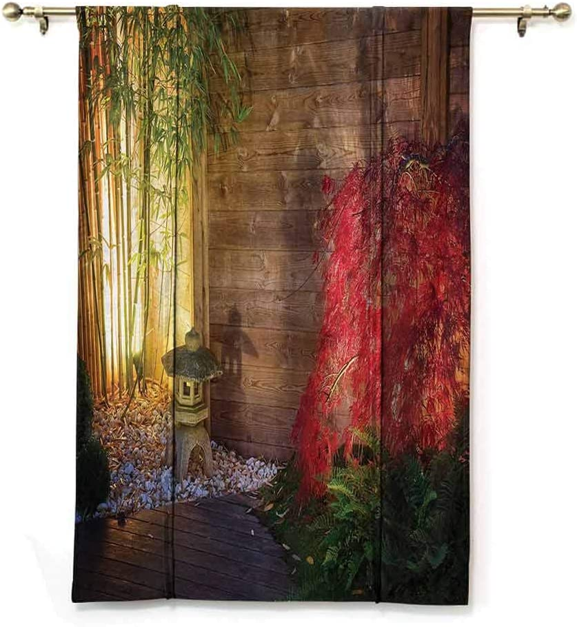 GugeABC Roman Shades Garden Thermal Insulated Adjustable Japanese Stone Lantern and Red Maple Tree in an Autumnal Zen Garden Bamboo Trees 39 x 64 Inches Multicolor