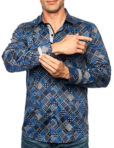 Michael & David Men'sCasual Fashion Slim Fit Long Sleeve Dress Shirts XL MD292