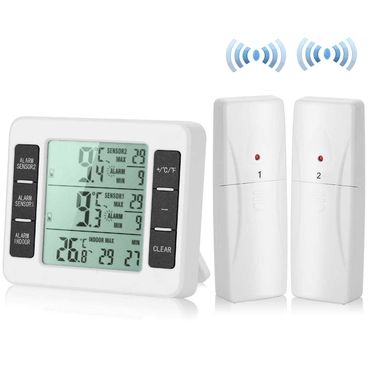【Upgraded Version】Esnow Refrigerator Thermometer Wireless Digital Freezer Thermometer Digital Sensor with 2PCS Sensors Temperature Monitor and Audible Alarm for Indoor / Outdoor (Battery not Included) by Esnow