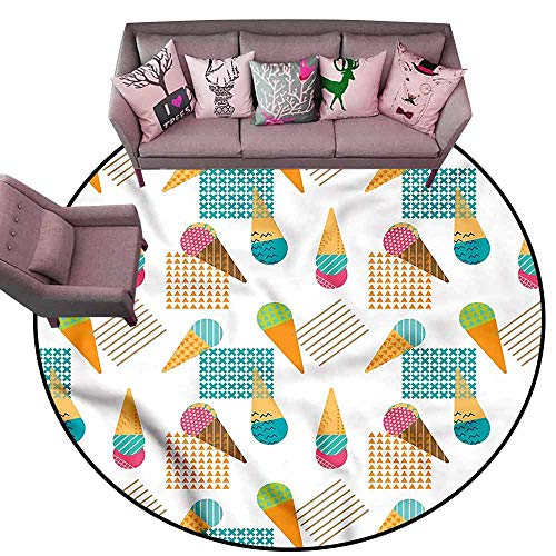 Bathroom Floor mats Ice Cream,Geometrical Graphic Diameter 54