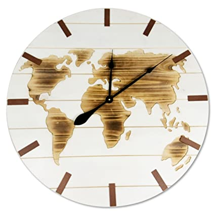 Amazon whole house worlds the world map clock over 2 ft in whole house worlds the world map clock over 2 ft in diameter rustic modern gumiabroncs Choice Image