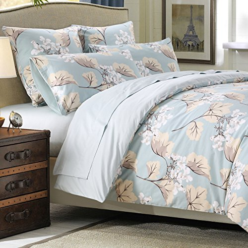 Cover Set Farmhouse Bedding 800 Thread Count 100% Cotton 3Pcs, King Size, Flower 2 (King Farm)