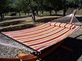Petra Leisure 14 Ft. Wooden Arc Hammock Stand + Deluxe Quilted Double Padded Hammock Bed w/Pillow. 2 Person Bed. 450 LB Capacity(Teak Stain/Elegant Fiesta Stripe)