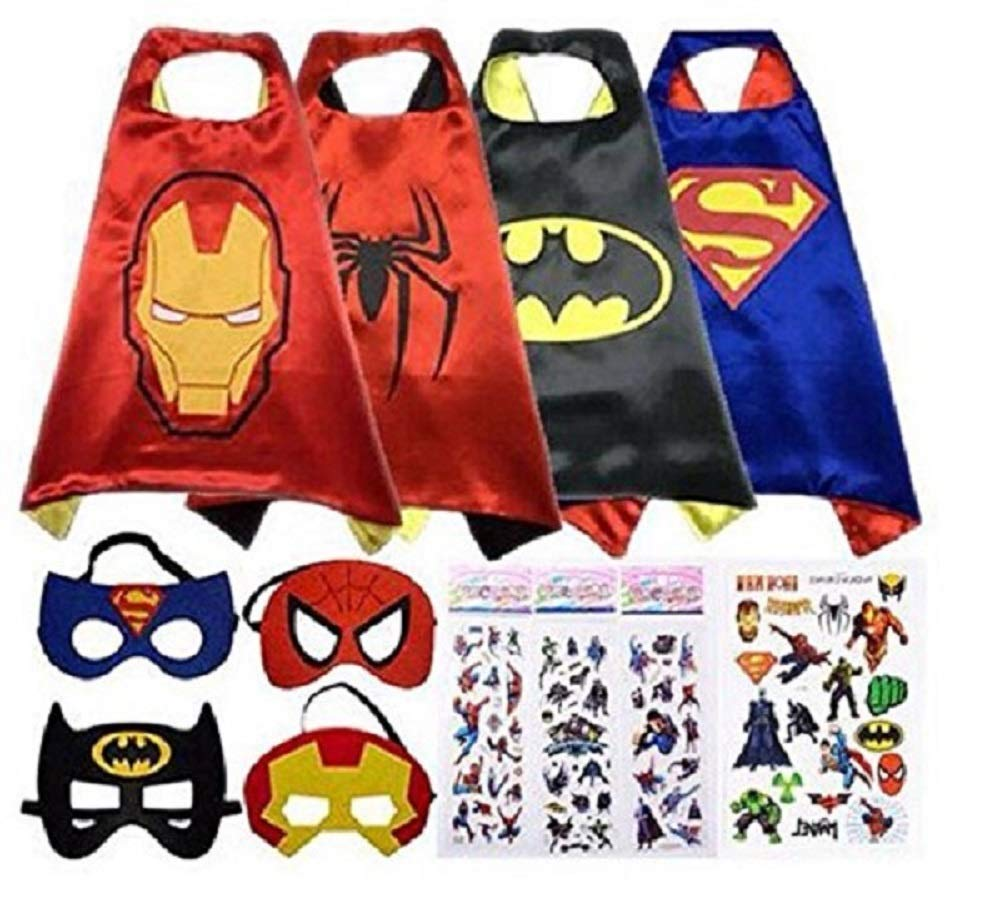 Halloween Superhero Dress Up Satin Capes (Reversible) with Felt Mask -4 Costume Sets for Kids with Bonus Stickers and Tattoo