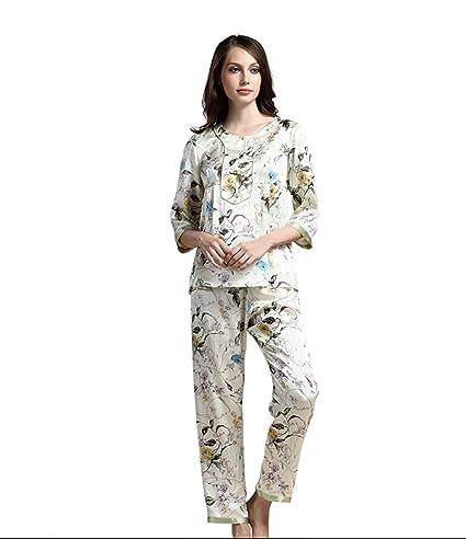 Primavera y verano de seda casual pijamas de seda de impresión de seda sección fina de
