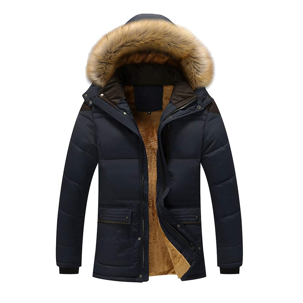 TAGGMY Jackets for Men Hoodie with Fur Winter Warm Fashion Plus Size Zipper Overcoat Casual Pocket Thermal Top Coat Outwear