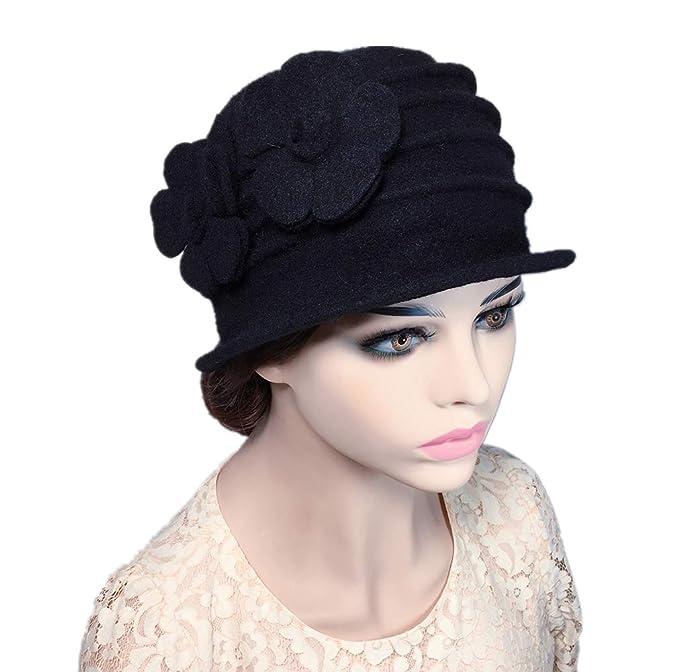 e164c3ba641 YSJOY Vintage Double Flower 100% Wool Dome Bucket Hat Winter Cloche Hat  Fedoras Derby Hat