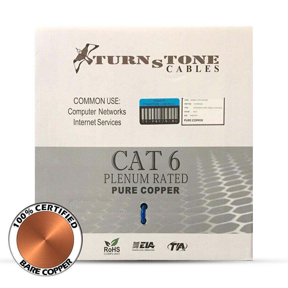 CAT6 Plenum Cable Pure Copper 1000ft bulk Ethernet Network wire - Blue