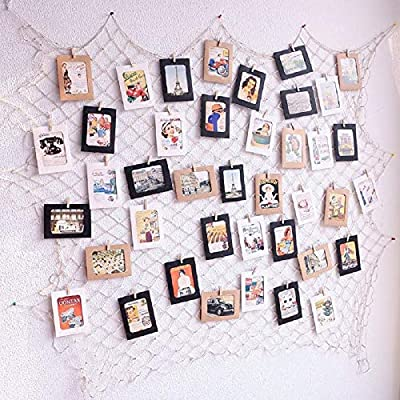 Photo Hanging Display Fish Net Wall Decorations Picture Frames Multi Photos Organizer with 40 Clips for Party Teens, Children Bedroom Living Room (Pink) - ♥ Flexiable and Versatile: Change your photos whenever you want, and also suitable for arts work or crafts, other papers or cards etc. ♥ Eco-friendly Materials: the fishing net was made in 3mm enviromental natural jute. Gorgeous, durable and eco friendly decor, It's very safe for children bedroom or other indoor use ♥ DIY Assembly: According to the size of the wall to adjust the net put way, everyone can make different way; you can also add some string lights on it to creates a warm, joyful ambience - picture-frames, bedroom-decor, bedroom - 61DCHOUNAOL. SS400  -