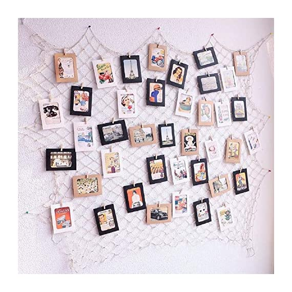 Photo Hanging Display Fish Net Wall Decorations Picture Frames Multi Photos Organizer with 40 Clips for Party Teens, Children Bedroom Living Room - ♥ Flexiable and Versatile: Change your photos whenever you want, and also suitable for arts work or crafts, other papers or cards etc. ♥ Eco-friendly Materials: the fishing net was made in 3mm enviromental natural jute. Gorgeous, durable and eco friendly decor, It's very safe for children bedroom or other indoor use ♥ DIY Assembly: According to the size of the wall to adjust the net put way, everyone can make different way; you can also add some string lights on it to creates a warm, joyful ambience - picture-frames, bedroom-decor, bedroom - 61DCHOUNAOL. SS570  -