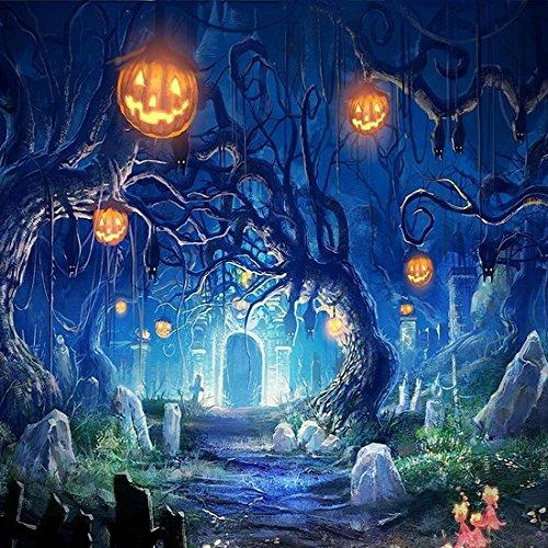 5x7ft Vinyl Digital Halloween Hallowmas Cemetery Pumpkin Photography Studio Backdrop Background -