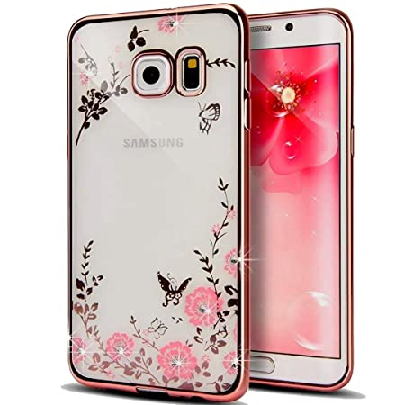 KC Shockproof Silicon Soft Transparent Auora Flower Crystals Back Cover for Samsung Galaxy S6 Edge  Rose Gold Pink  Cases   Covers