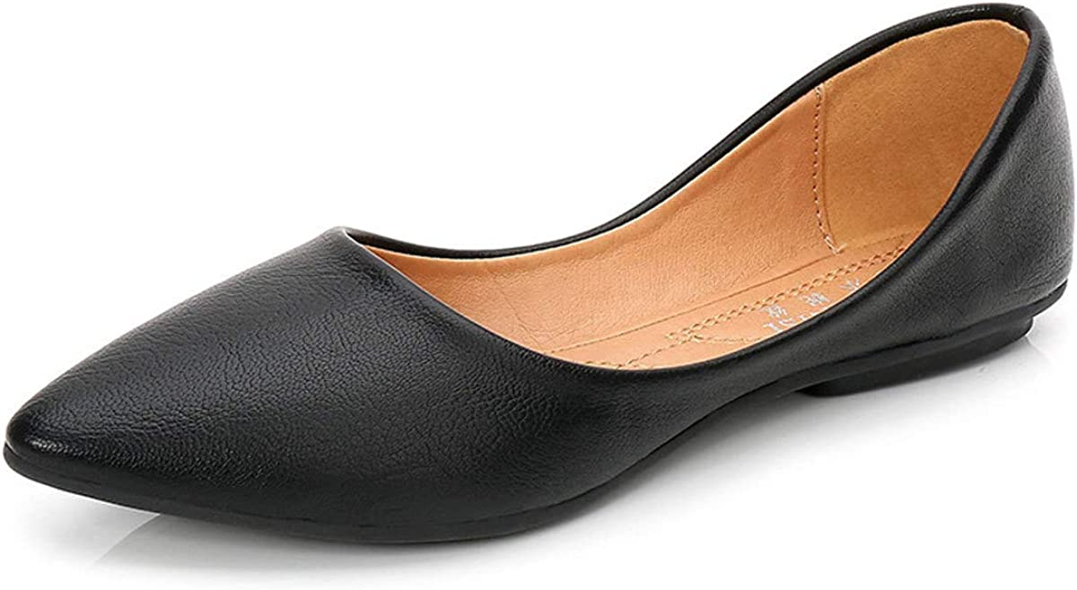 Orangetime Pointy Toe Shoes for Women Comfort Work Shoes Ballet Flats Black Dress Shoes Slip On Moccasins