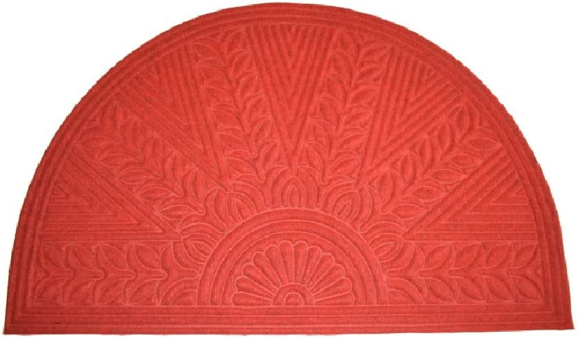 "Imports Decor Synthetic Half Round Rice Bran Door Mat, 30"" x 47"", Red"