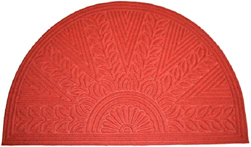 Imports Decor Synthetic Half Round Rice Bran Door Mat, 30 x 47 , Red