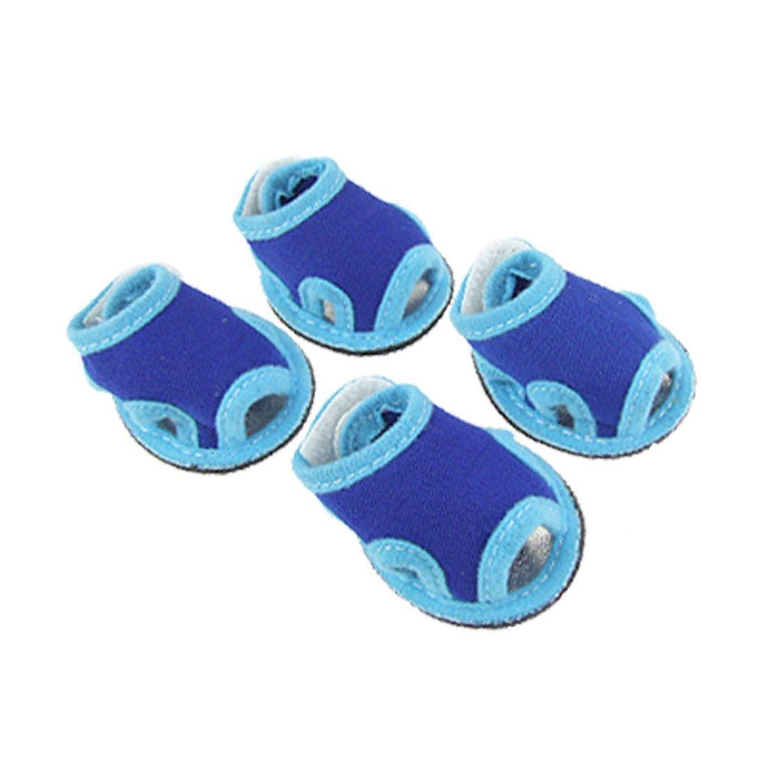 Sz 3 Nonslip Sole Pet Doggy Dog Sandals bluee shoes 4 Pcs