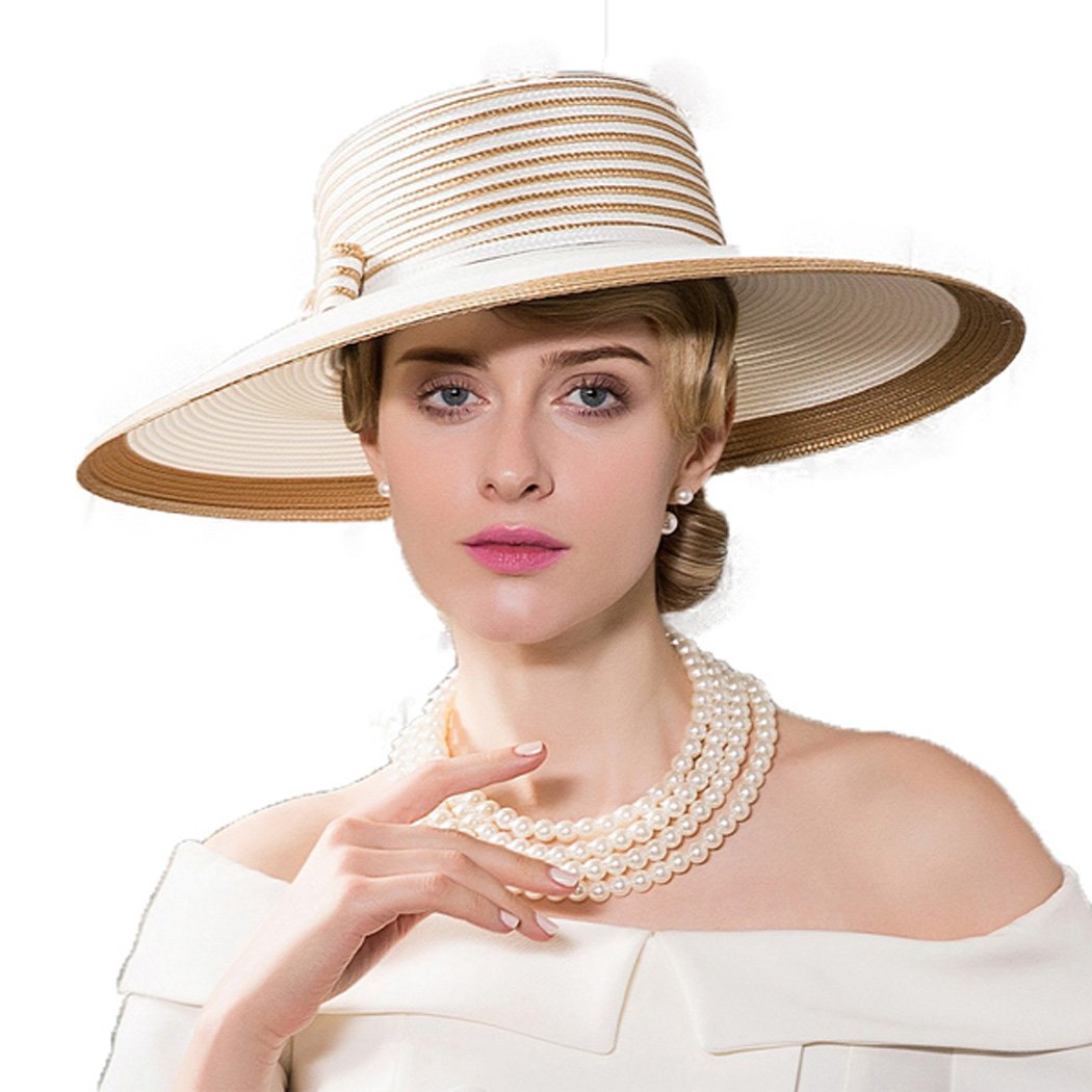 Dovaly Womens Fascinator Kentucky Derby Large Brim White Gold Striped Bowknot Sunhat by Dovaly (Image #1)