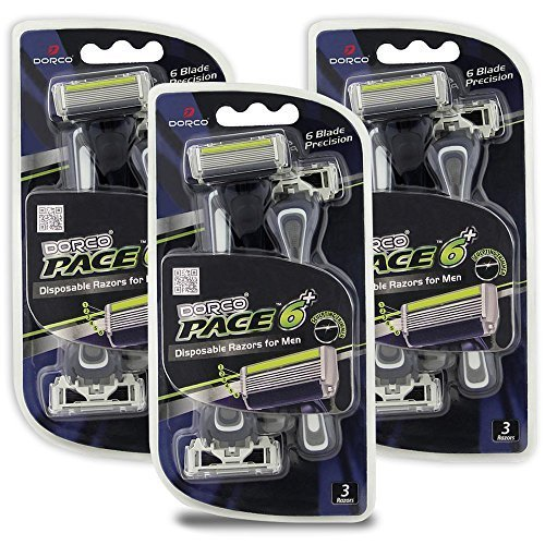 Dorco Pace 6 Plus - Six Blade Disposable Razors with Trimmer - Value Pack (9 Disposable Razors)