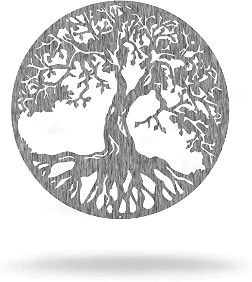 Steel Roots Decor Powder Coated Polished Metal Tree Of Life Wall Art Laser Cut Holes 18″ Polished Charcoal